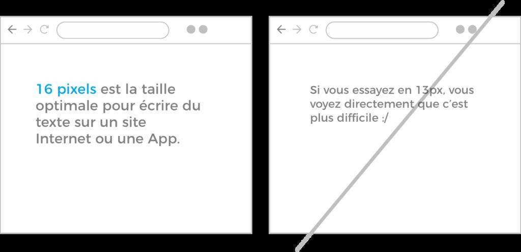 UX Design règle #1: La taille de votre texte doit être de minimum 16px